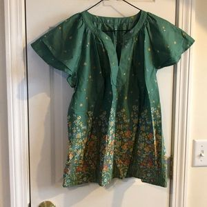 St. John's Bay Green Floral Blouse